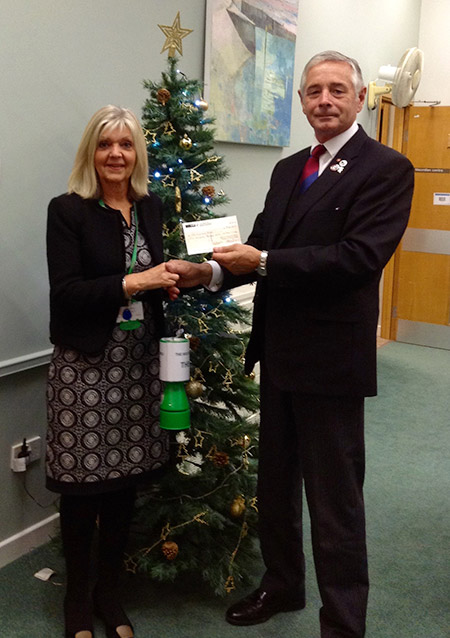 Cheque for £500 to The Mustard Tree, Oncology Department.