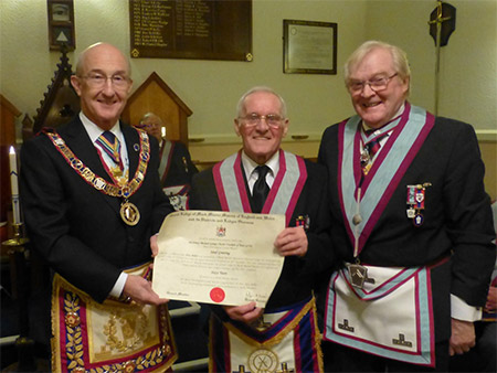 R.W. Bro Peter Balsom, W.Bro Alex Miller and W.Bro Barry Hill